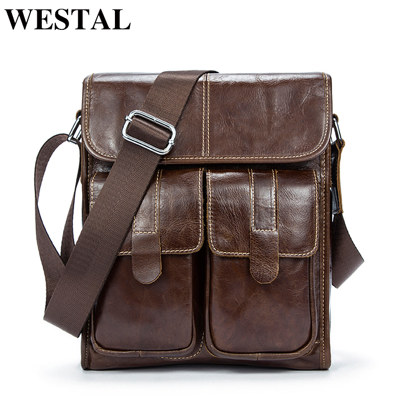 WESTAL Genuine Leather bag men bags Messenger Bags male small flap Vintage Leather shoulder crossbody bags