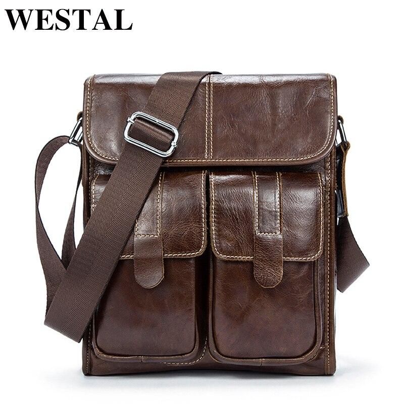 WESTAL Genuine Leather bag men bags men's messenger small ...