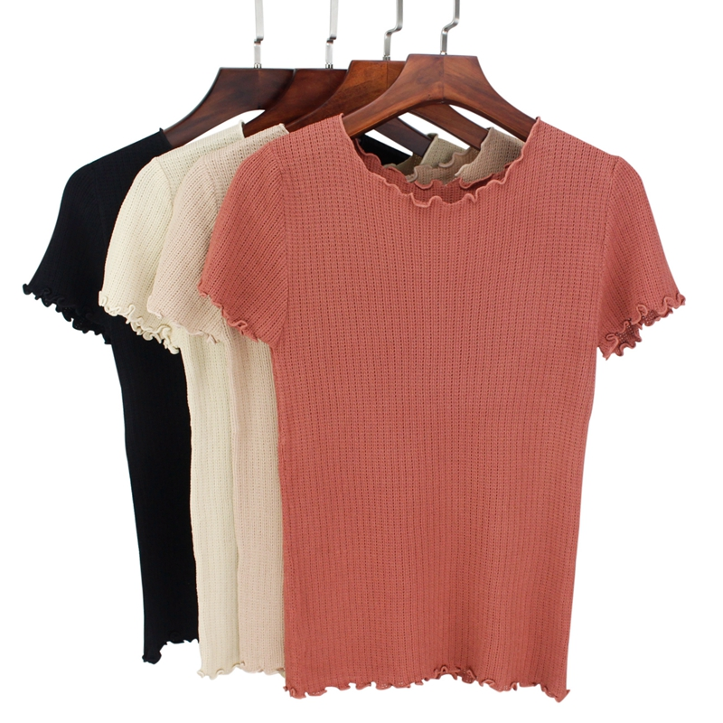 GIGOGOU High Quality Knitted Women T Shirt Summer Casual Short Sleeves Top breathable Tee Shirt High Elasticity Female Tshirt