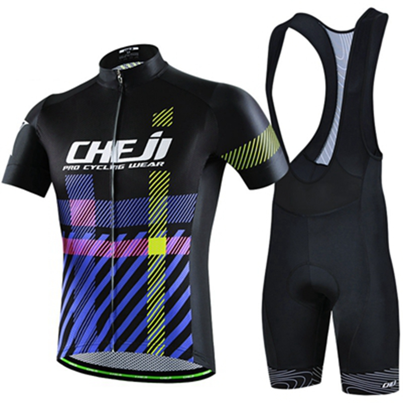 CHEJI  Outdoor Sports Clothing Suit Pro team ropa Bicycle Wear set Men Women MTB Cycling Clothing Summer bike Jersey Bib Shorts