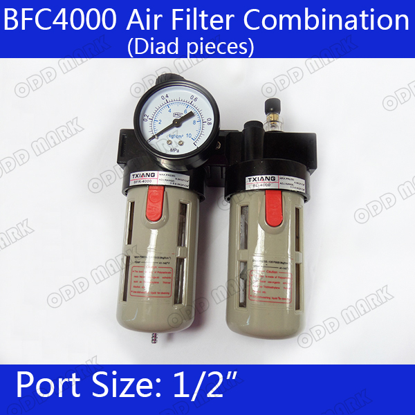 BFC4000 Free Shipping 1/2 Air Filter Regulator Combination Lubricator ,FRL Two Union Treatment ,BFR4000 + BL4000 afc2000 g1 4 air filter regulator combination lubricator frl two union treatment afr2000 al2000