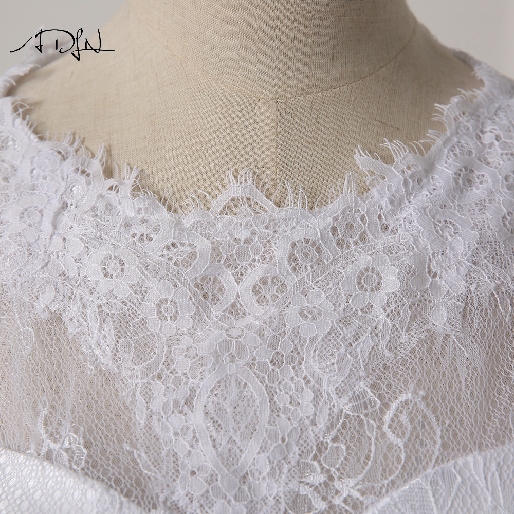 ADLN Elegant Scoop rochie de mireasa cu maneca lunga Lace A-line Alb - Rochii de mireasa - Fotografie 6