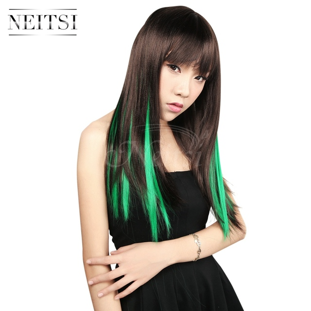 Neitsi 10pcs 18inch Colored Highlight Synthetic Clip On In Hair