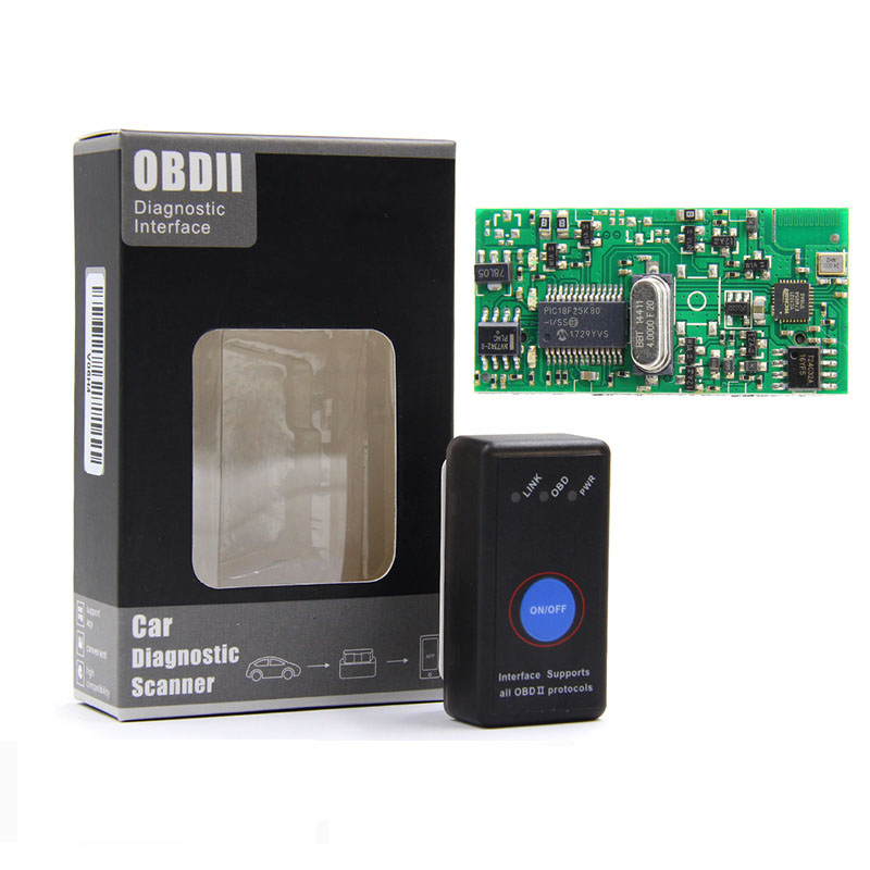 Super MINI ELM327 V1.5 Bluetooth 4.0 ELM 327 With Power Swtich PIC18F25K80 Chip OBD OBD2 Diagnostic For IOS Window Android