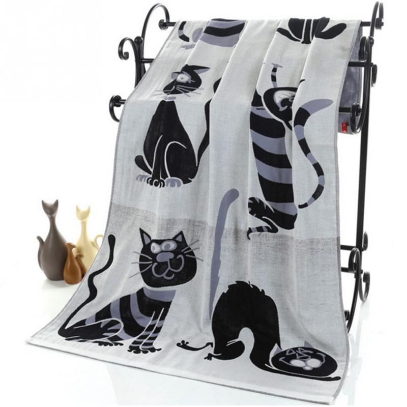 Cute Cat Cotton Gauze Cartoon Adult Bath Towel Home Textile Large Towel Bathrobe Camping Sport Beach