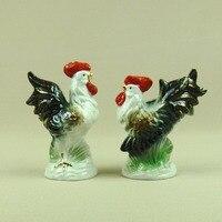 Porcelain Rooster and Hen Figurine Handmade Ceramics Fowl Miniature Lovers Decoration Art Craft Present Ornament Accessories