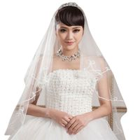 1.5M 1 Layer Women Bridal White Short Wedding Tulle Veil Circular Ribbon Edge Center Cascade Marriage Solid Color Without Comb Bridal Veils