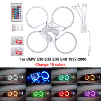 4X 131MM 5050SMD Multi Color RGB LED Angel Eyes 1992 2006 For BMW E36 E46 E39 E38 3 5 7 Series Halo Ring Kit Headlights