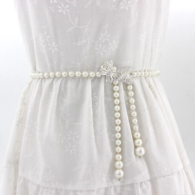 Elegant Women Pearls Elastic Wedding Belts Handmade Bridal Belts Fashionable Pearl Beaded Bridal Sashes Wedding Accessories