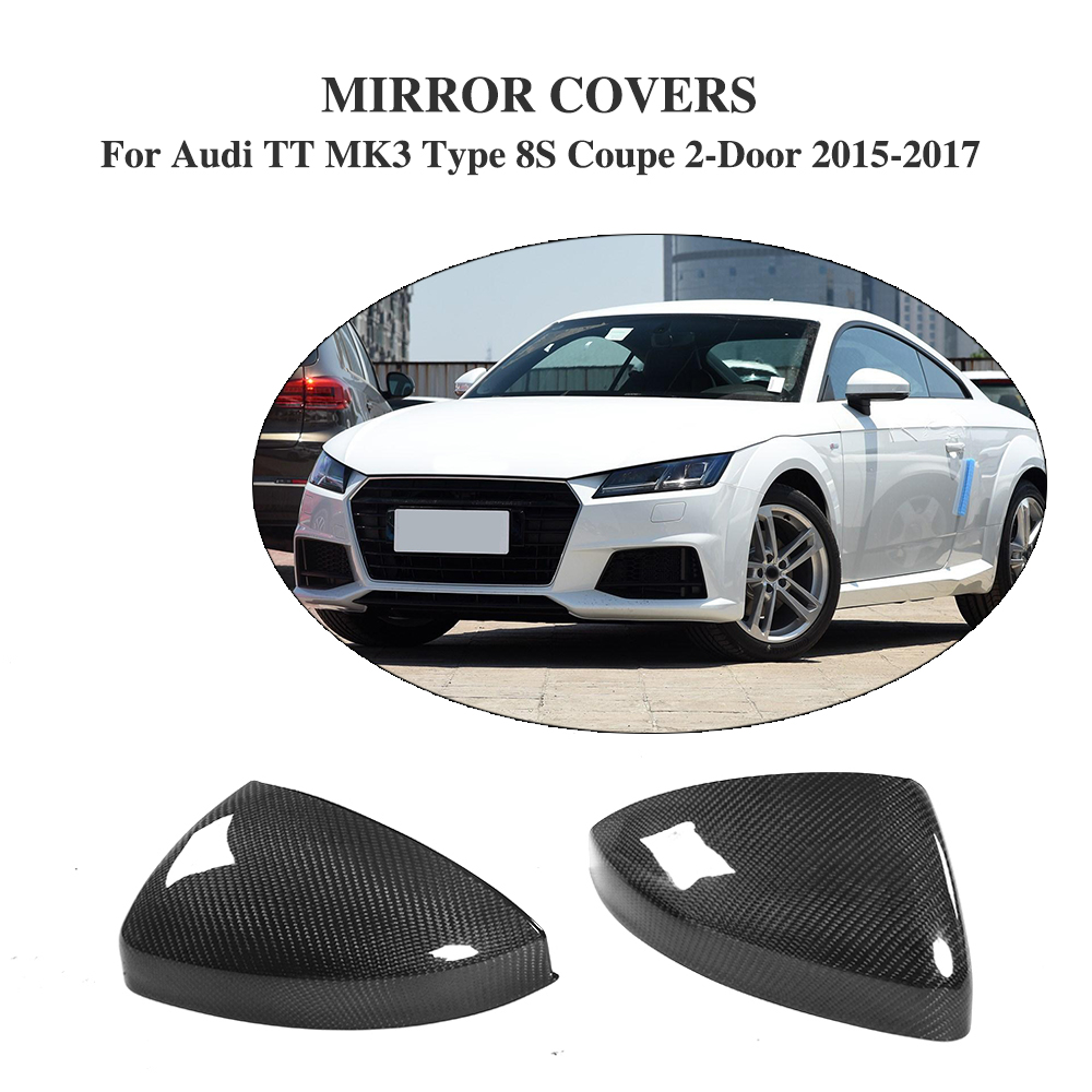 Carbon Fiber Replacement Style Side Door Rearview Mirror Covers for Audi TT MK3 Type 8S 2-Door 2015-2017 Without Side Assist kibowear 2017 for audi new tt side mirror covers caps matte chrome brushed silver replacement 2015 2016