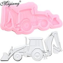 Excavator Silicone Mold 3D Car Fondant Molds Baby Birthday Cake Decorating Tools Cupcake Candy Clay Chocolate Gumpaste Moulds