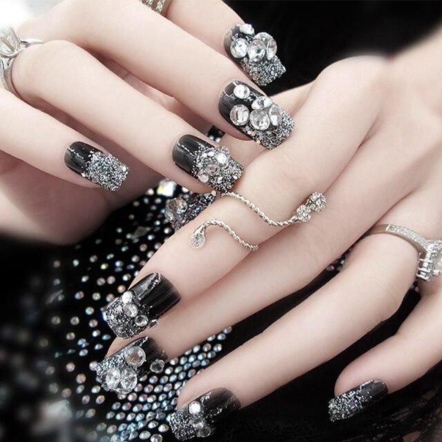 24pcs Set Elegant Silver Glitter False Nails Rhinestone Black Square