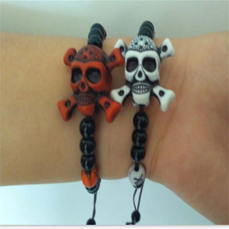 1PCS Bracelets and bracelet pirate skull beads bracelet lovers pokemon party Halloween decorations child 39 s gift in Party Favors from Home amp Garden