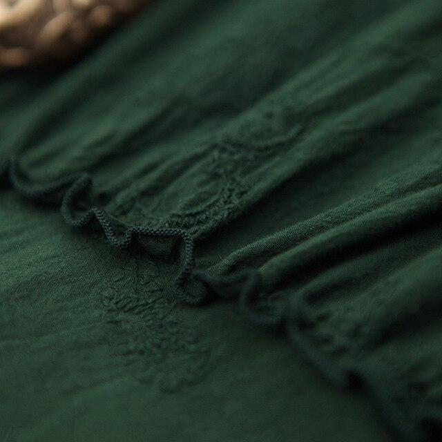 Marque Printemps Style Femmes Dark Irrégulière National Longue Mode Broderie De 2019 Jupe Robe Vêtements Célèbre Green Nouveau 5FnYqwA