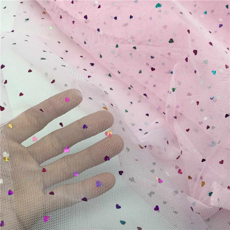150 cm Breite Glitter Herz Pailletten 100 cm/lot Weiche Tulle Gittergewebe Rolle Hochzeit Nähen Mesh DIY Organza Tutu Rock zubehör