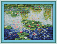Water lily in the pond cross stitch kit flower 18ct 14ct 11ct count printed canvas stitching embroidery DIY handmade needlework