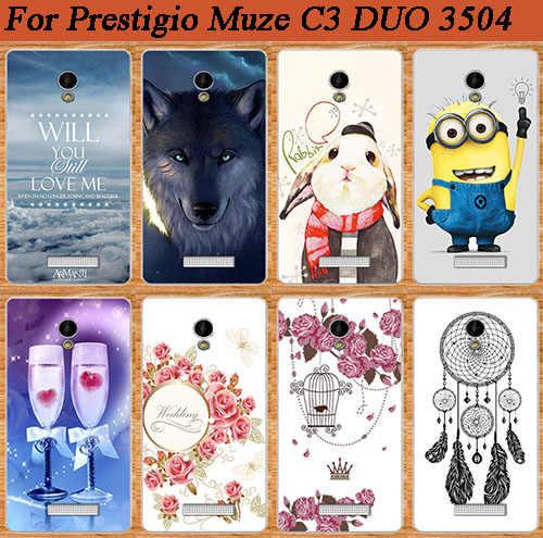 Para Prestigio Muze C3 3504 DUO de moda nuevos estilos suave TPU de silicona pintura teléfono caso para Prestigio Muze C3 de vuelta cubre