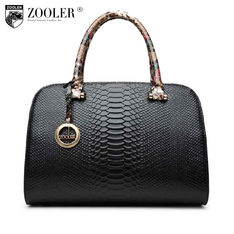ZOOLER genuine leather Bag Ladies Luxury woman bags bag handbag fashion handbags OL Style Serpentine grain bolsa feminina #6051 zooler 2017 new arrival genuine leather handbags woman design top quality crossbody bag luxury brand red ladies bags hs 3211