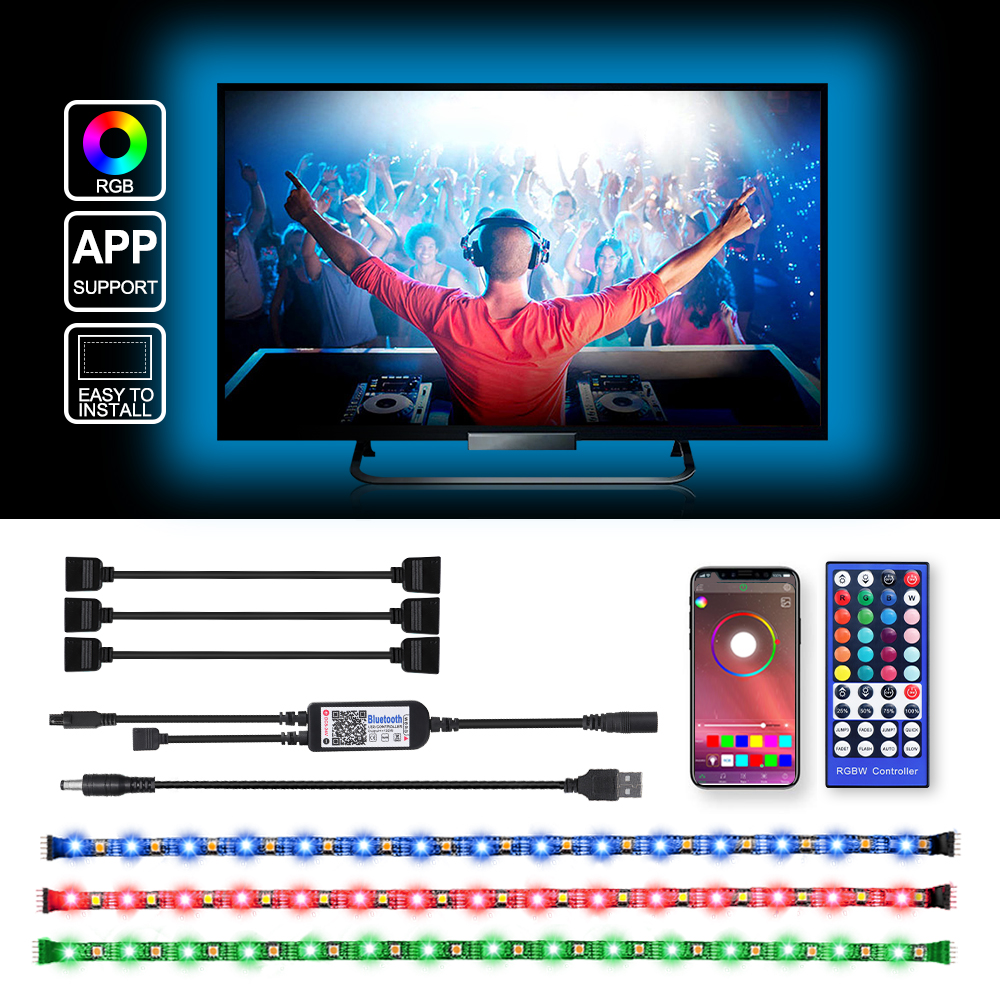 USB LED Strip DC 5V 50CM 1M 2M 3M 4M IR 40Key Controller APP Bluetooth Control Flexible Light Desk Screen TV Background Lighting