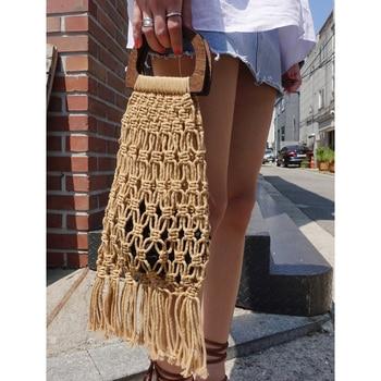 Hollow Tassel Rattan Bags Handmade Wood Handle Womens Handbags Woven Rope Straw Bag Casual Totes Summer Beach Purse Shopping Sac 4