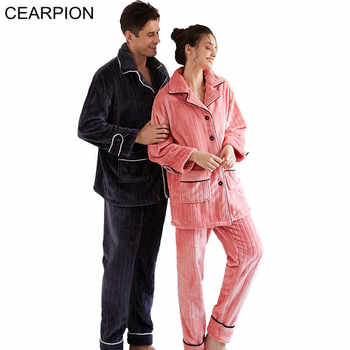 CEARPION Lovers Winter Warm Pajamas Suit Thick Flannel 2PCS Shirt&Pant Nightwear Men&Women Casual Soft Home Clothes Sleep Wear - DISCOUNT ITEM  25% OFF All Category
