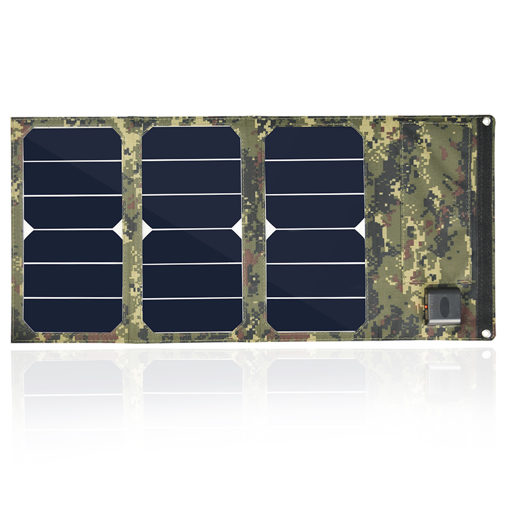 Portable camouflage colors 20W Folding Foldable Solar Panel Charger Waterproof Mobile Power Bank Phone Battery Dual USB 5V 2A xinpuguang solar panel charger 100w 9v 18v foldable portable black fabric waterproof power bank phone 12v battery dual usb 5v 2a