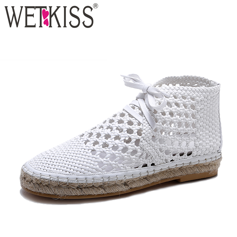 WETKISS New Arrival Designer Shoes Woman Hallow Summer Flats Women Fisherman Shoes Lace up Straw Weave Flat Platform Footwear the new straw linen canvas shoes men and women weave fisherman couple flats shoes