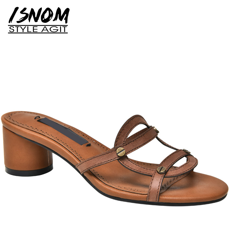ISNOM High Heels Slippers Woman Open Toe Footwear Cow Leather Retro Slides Shoes Female Rivet Mules