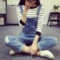 2016 de La Moda Coreana de Las Nuevas Mujeres Del Mono Overol de Mezclilla Ocasional Chicas Flacas Pantalones Vaqueros Baratos Niñas trajes Pantalones