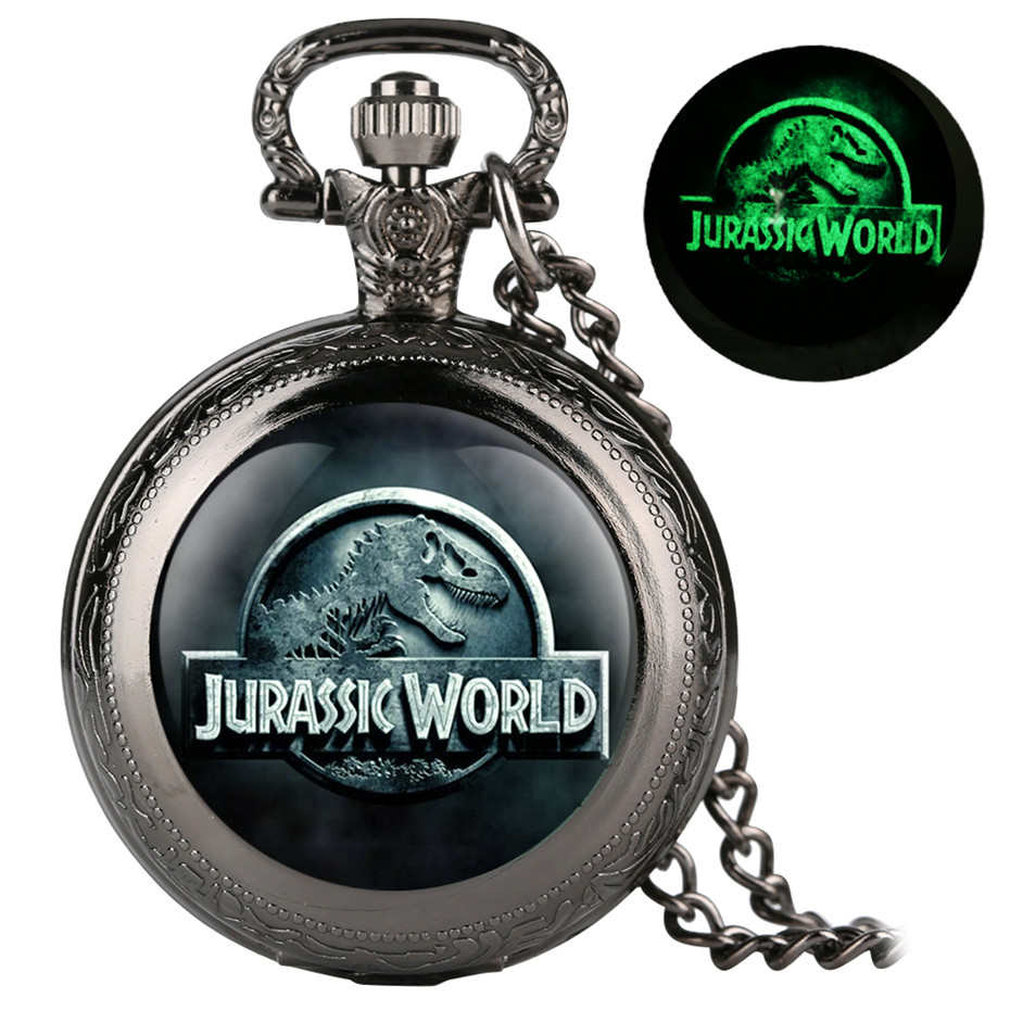 Unique Luminous Quartz Pocket Watch Classic Jurassic Park Theme Display Necklace Pendant Clock Gifts For Men Women Children