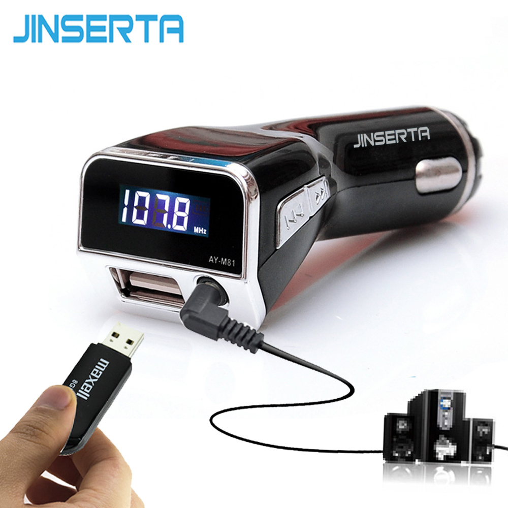 JINSERTA Universal 12V Car MP3 Player FM Transmitter Modulator Support U Disk 3.5mm AUX Audio Music Play USB Charger for Phone