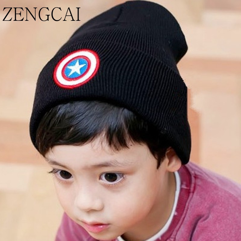 ZENGCAI Cotton Child Hat For Boys Girls Knitted Wool Baby Beanies Autumn Winter Kids Hat Five-pointed Stars Cute Baby Caps Gorro fashion red band embellished five pointed stars pattern jazz hat for kids