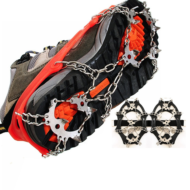 1 Pair- Outdoor 18 Teeth Crampons Anti-Slip Ice Gripper Cleats Shoe Boot Grips Chain Spike Snow for Hiking Climbing
