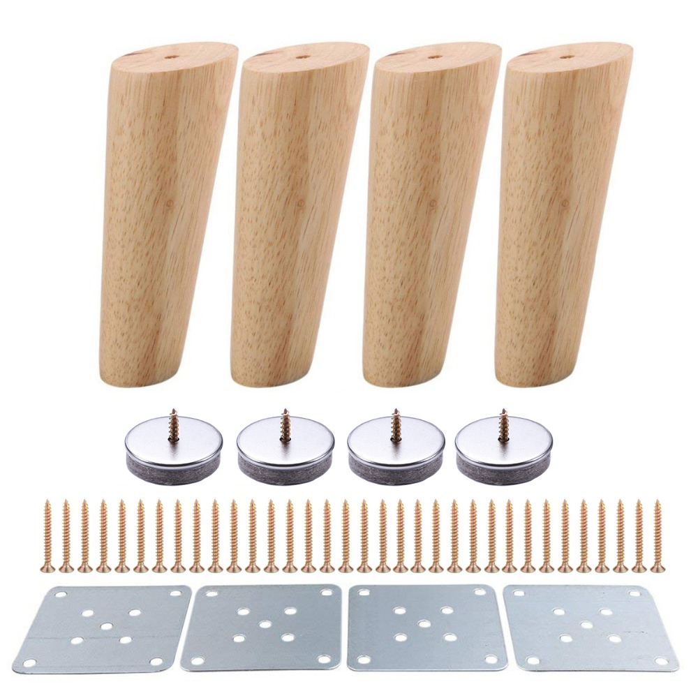 4pcs 150mm Height Wooden Furniture Legs Oblique Tapered Reliable Sofa Table Feet Couch Dresser Armchair Foot Oak Wood More Gift