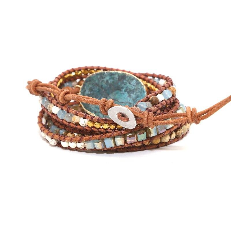 Leather Beaded Wrap Bracelet Unique Onyx with Blue Ocean Stone 5 Strands Wrap Bracelets Handmade Boho Weaving Bracelet