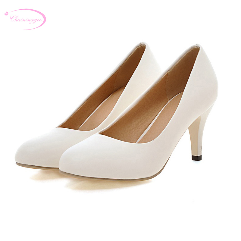 Chainingyee simple style comfortable round toe pumps slip-on black white <font><b>blue</b></font> purple <font><b>pink</b></font> green high-heeled <font><b>women's</b></font> <font><b>dress</b></font> shoes image