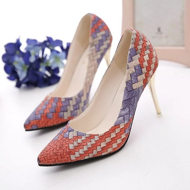 New 2017 Pumps summer Woman Shoes autumn national wind retro plaid heels pointed fine with single shoes women Asakuchi career