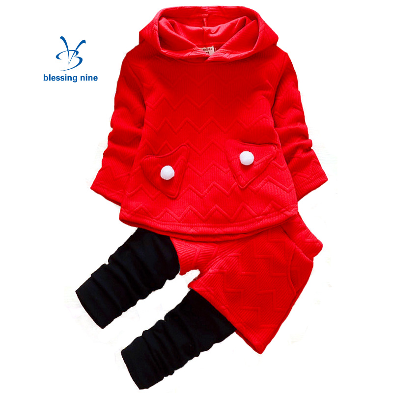 Newborn Baby Girl Clothes Set Suit Autumn Outfits  New Born Clothing Sets Toddler Long Sleeve Hoodie Red Sweater + Pants 2Pcs fashion brand autumn children girl clothes toddler girl clothing sets cute cat long sleeve tshirt and overalls kid girl clothes