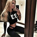 LIENZY Summer Sexy Suit Women Tracksuit Black Letter 33 Crop Top + Bodycon Lulu Long Pants Capris 2 Piece Set