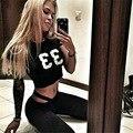 LIENZY Verano Sexy Mujeres Traje Chándal Carta Negro 33 Crop Top + Bodycon Lulu Pantalones Largos Capris 2 Unidades Set
