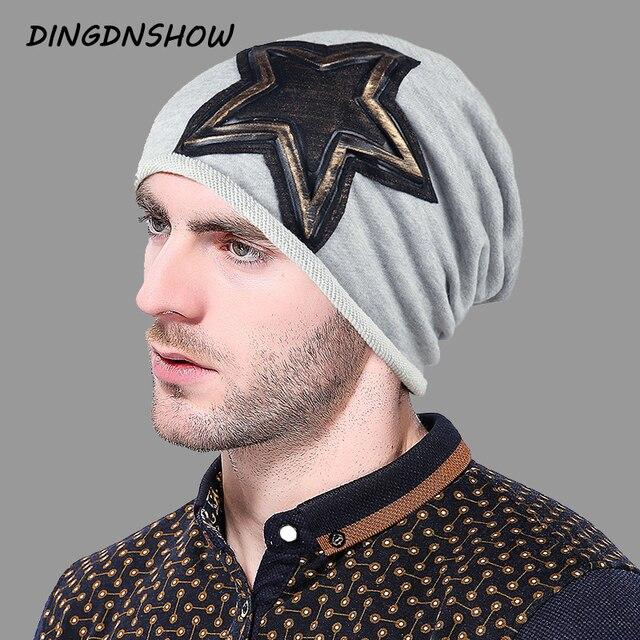 DINGDNSHOW  2018 Brand Beanies Hat Cotton Winter Cap Star Men Bonnet Hat  Warm Skullies Cap 6c1bf948a25