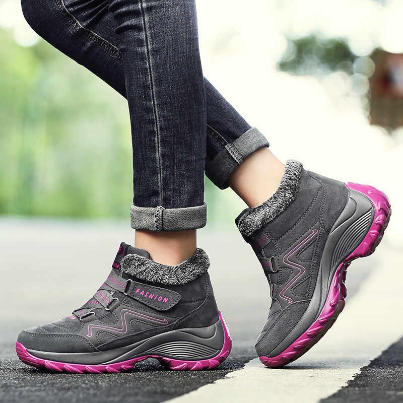 PINSEN 2020 kış kadın kar botları sıcak peluş su geçirmez yarım çizmeler kadın kama kar botları ayakkabı kadın lastik çizmeler