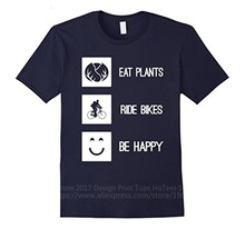 Custom Made Good Quality T Shirt Crew Neck  Eat Plants Ride Bikes Be Happy Short Sleeve Gift Shirts For Men