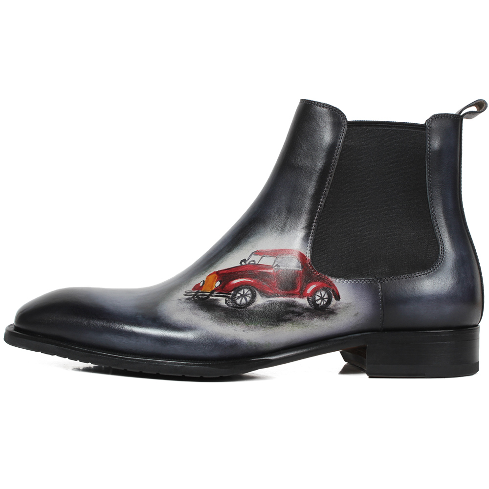 c42236a457885 US $369.79 38% OFF|VIKEDUO Autumn New Fashion Ankle Boots Men Genuine  Leather Patina Car Painted Chelsea Boot Male Classic Handmade Botas  Hombre-in ...