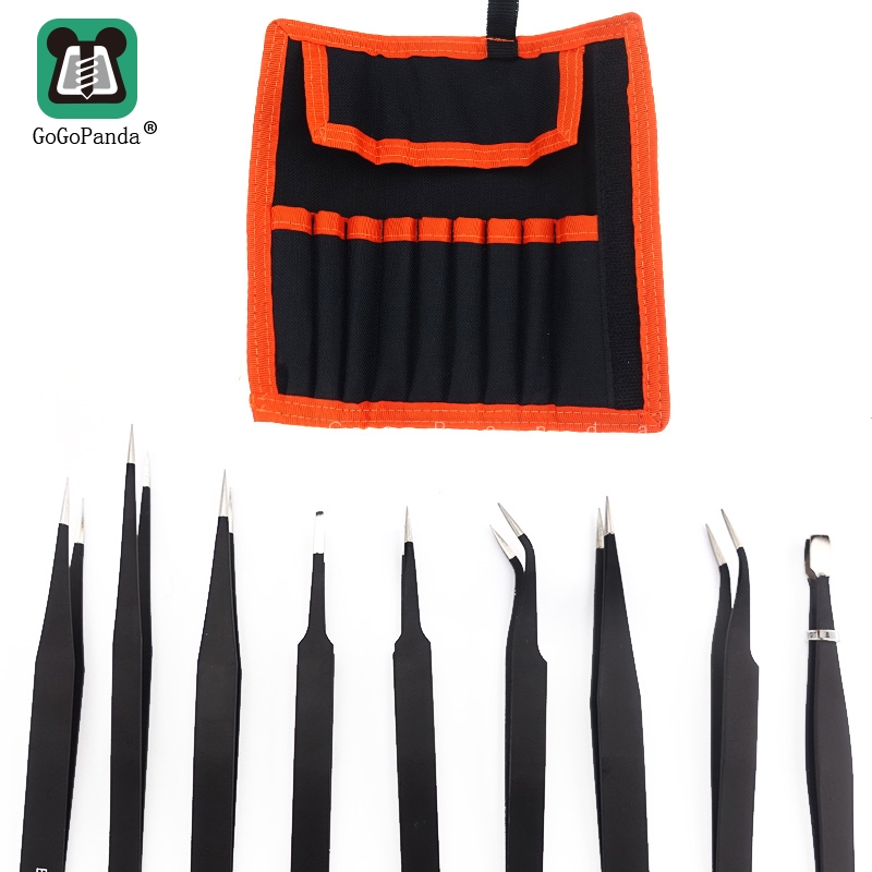 <font><b>ESD10</b></font> 12 17 Straight Curved Tweezers Resists Corrosion Anti-static Tweezers Precise Electric Maintenance Bag Sale image