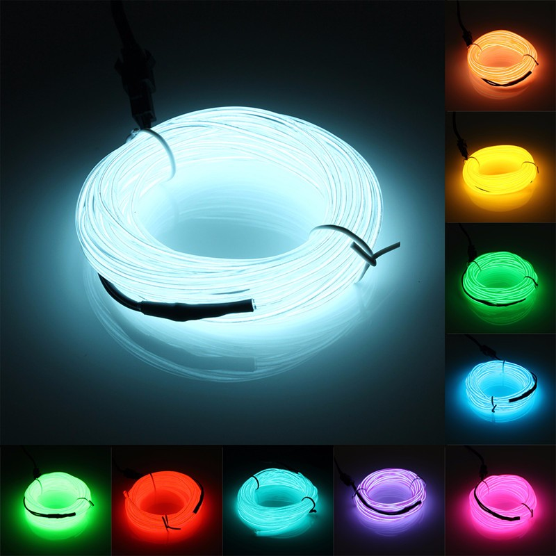 5M 10 color Neon Light Party Christmas Decoration Light LED lamp Flexible EL Wire Rope Tube Waterproof LED Strip With Controller