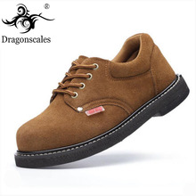Safety Shoes Welding Anti-smashing Anti-wear Leather Mens Boots Wear-resistant Anti