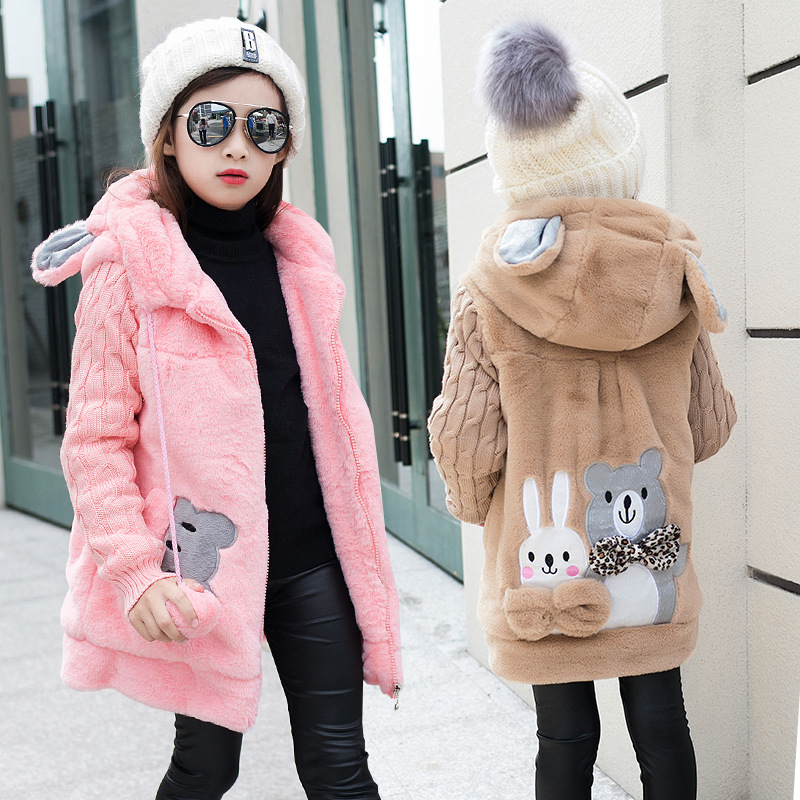 Girl's Winter imitation fur coat 2018 Girls Faux fur coat children baby clothes Kid Thick Plus velvet coat Wholesale plus contrast striped coat