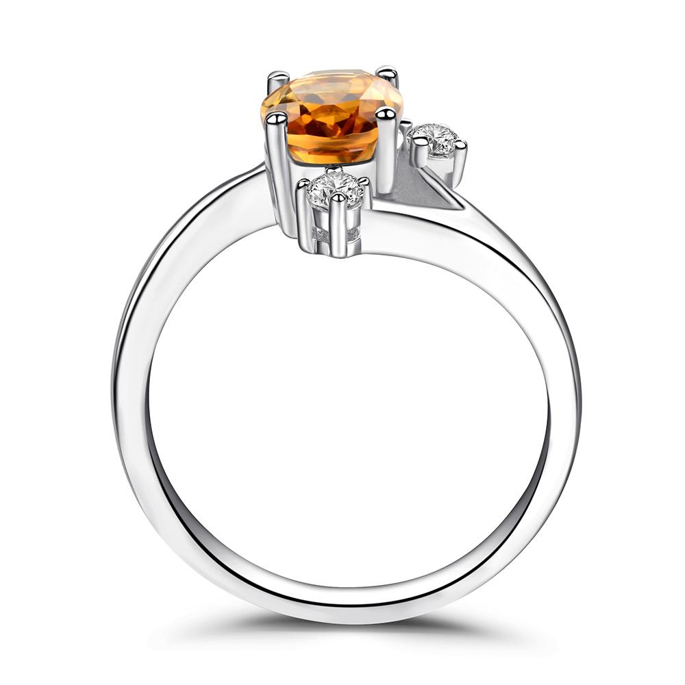 Leige Jewelry Oval Cut Citrine Rings Sterling Silver 925 Wedding Engagement Rings Yellow Gemstone Jewelry Anniversary Gift