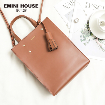 EMINI HOUSE Genuine Leather Tassel Tote Bag Handbag Luxury Handbags Women Bags Designer Women Shoulder Bag Roomy Crossbody Bag handbag